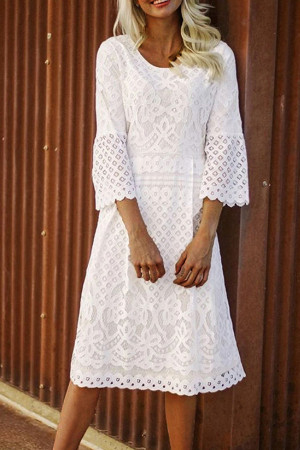 White Lace Cut-out Dress