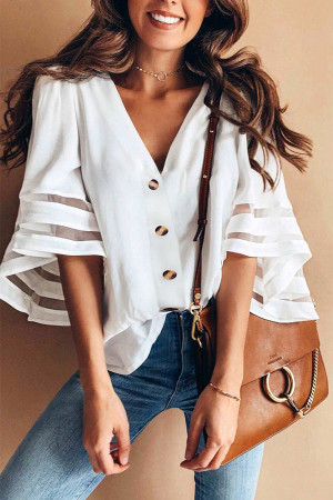 White Mesh Button V-neck Blouse