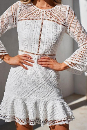 White Ruffled Cutout Lace Dress