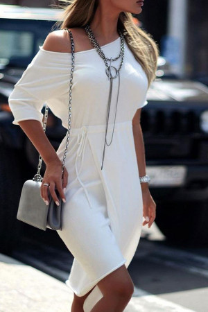 White Sloping Shoulder Lace-up Dress