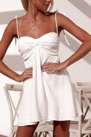 White Spaghetti Straps Dress