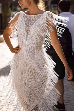 White Tassel Fitted Dress