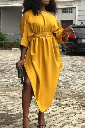 Yellow Asymmetric Long Dress