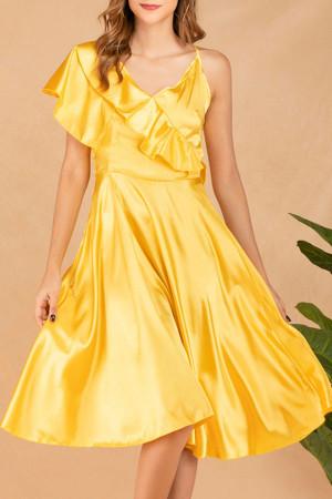 Yellow Ruffle A-line Dress