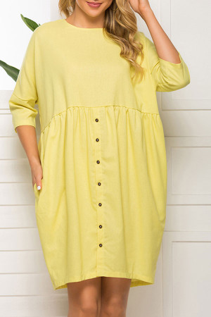 Yellow Scoop Loose Dress