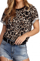 Leopard Print Scoop T-shirt