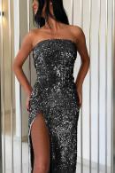 Split Thigh Sequin Prom Dress