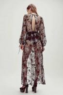 Plunge Neck Embroidered Sheer Dress