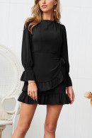 Solid Lace Up Dress