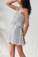 Ruffled Backless Print Mini Dress