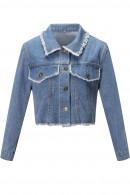 Frayed Crop Denim Jacket