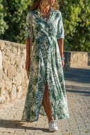 Print Long Sleeves Shirt Dress