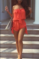 Casual Solid Strapless Romper