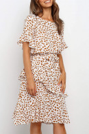 Scoop Printed Ruffle Dress
