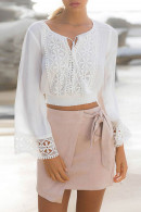Lace  Casual  Solid  Shirt