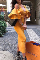 Solid V-neck Ruffle Sleeve Dress