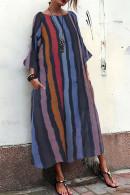 Vintage Striped Pockets Tunic Dress