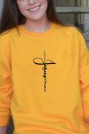 Cross Print Scoop Sweatshirt