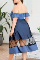 Bandeau Backless Denim Dress
