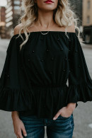 Beaded Off-the-shoulder Blouse
