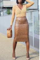 Beaded Slit PU Skirt