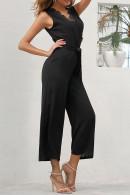 Black Lace Belted Jumpsuit