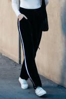 Black Velvet Stripe Side Pants