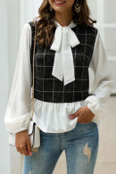 Bow Collar Patchwork Top