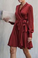 Burgundy Lace-up Wrap Dress
