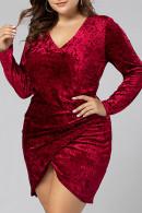 Burgundy V-neck Asymmetric Dress