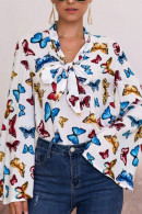 Butterfly Print Front Tie Blouse
