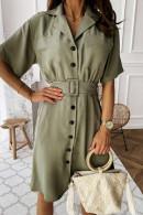 Button Down Lapel Dress