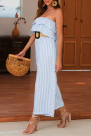 Casual Strapless Ruffled Jumpsuit
