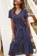 Casual Striped Belted Dress