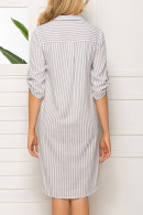 Casual Striped Shirt Dress