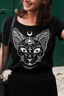 Cat Print Scoop T-shirt