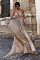 Champagne Sparkly V-neck Prom Dress