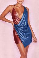 Color Block Backless Cami Dress