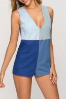 Color Block Denim Romper