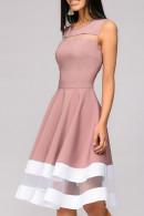 Color Block Mesh Panel Dress