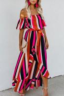 Color Block Off-the-shoulder Dress