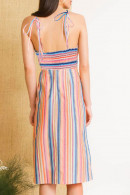 Colorful Striped Slit Dress