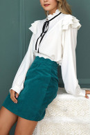 Corduroy Scalloped Trim Skirt