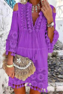 Cutout Shoulder Lace Fringe Dress