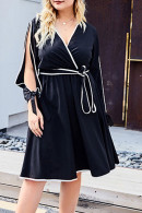 Cutout Sleeve Lace-up Dress