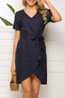 Dark Navy Lace-up Casual Dress