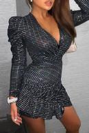 Deep V-Neck Ruffles Dress