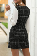 Double Breasted Plaid Patchwork Dress