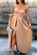 Double Layered Strapless Dress