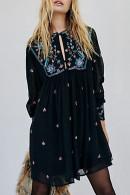 Embroidered Cutout Chiffon Dress